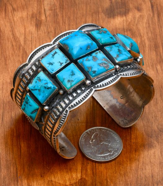 Classic Navajo Sterling cuff with ten square Sleeping Beauty stones, by Andy Cadman.—SALE PENDING