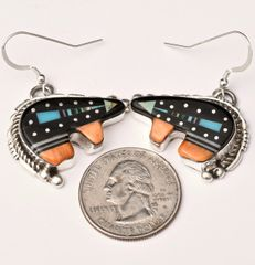 Sterling fetish-bear earrings with night sky inlay, by Ray Jack