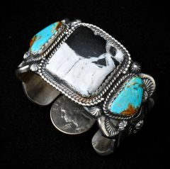 Navajo custom made heavy-silver triplet cuff with white buffalo stone and Royston turquoise, by Gilbert Tom.