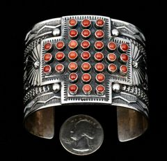 Sunshine Reeves masterpiece Navajo cuff with red coral.