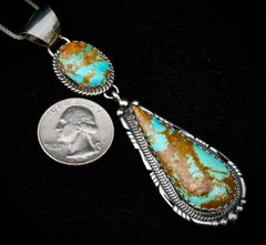 Sterling Navajo double pendant with Royston, Nevada turquoise, by Elouise Kee.