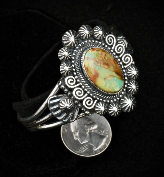 Nicely-worked Sterling Navajo cuff with Royston turquoise.