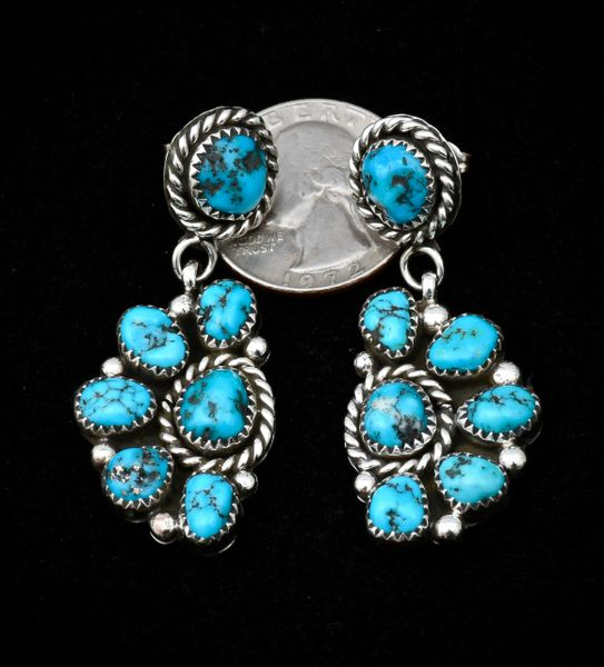 Sterling Navajo dead-pawn earrings with Sleeping Beauty turquoise.