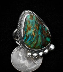 Size 8.5 Sterling Navajo ring with Nevada Easter Blue turquoise.