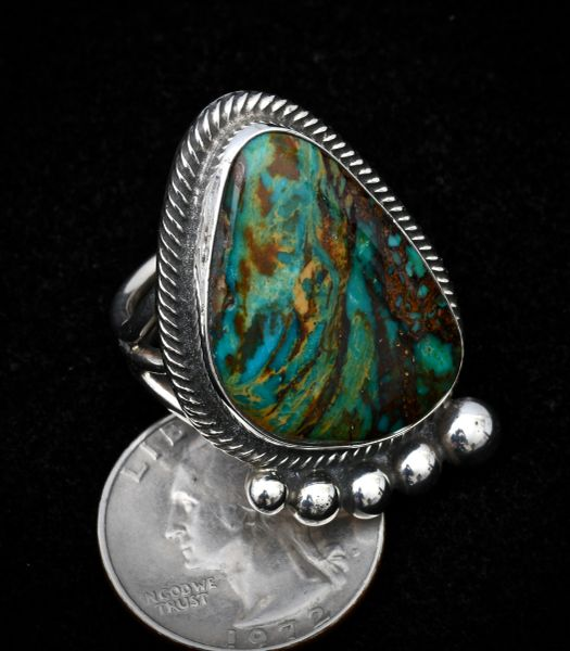 Size 8.5 Sterling Navajo ring with Nevada Easter Blue turquoise.—SOLD!