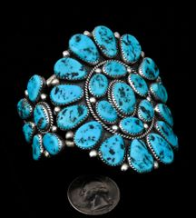"""Vintage Henry Roanhorse cluster cuff with 33 real (not """"block"""") Sleeping Beauty turquoise stones."""