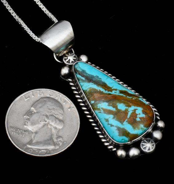 Smaller Sterling Navajo Pendant with Kingman turquoise.
