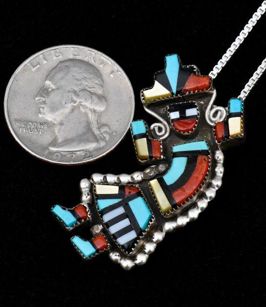 Colorful old Sterling Zuni Kachina figure inlay pendant; brooch.