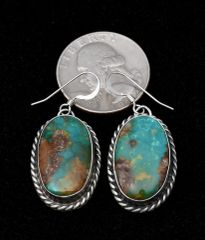 Smaller Sterling earrings with deeper green Royston turquoise.