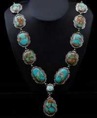 "Sterling Navajo ""lariat"" necklace with 12 medium/large 'new' No. 8 Mine turquoise stones, by Gilbert Tom."