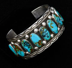 Sterling nine-stone row cuff with Kingman turquoise, by Garrett Platero