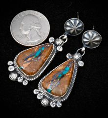Sterling Navajo earrings with ribbon (boulder) turquoise, by Gilbert Tom.—SOLD!