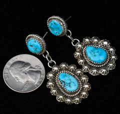 Sterling two-piece Navajo post earrings with Sleeping Beauty turquoise.