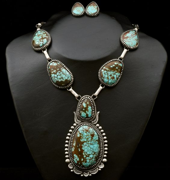 Stunning Navajo dead-pawn Sterling pendant necklace and earring set with new No. 8 Mine turquoise. —SOLD!