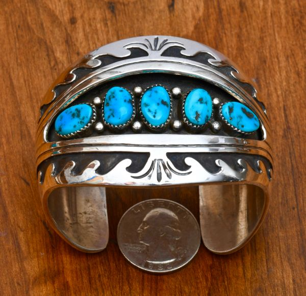 Dead-pawn double-overlay shadowbox cuff with Sleeping Beauty turquoise.