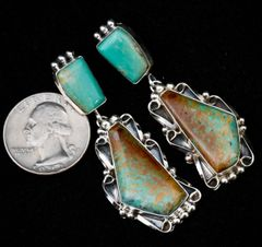 Trophy Navajo two-piece earrings with bookend-match Royston turquoise.