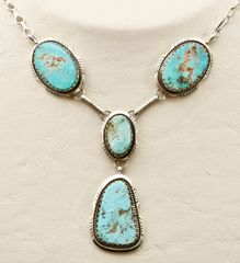 Sterling Navajo four-pendant necklace with Royston turquoise, by Elouise Kee.