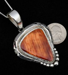 Sterling Navajo pendant (and chain) with rich mahogany-color spiney oyster shell.