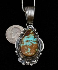 Sterling Navajo old-style pendant (and chain) with No. 8 Mine turquoise.