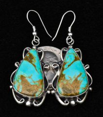 Sterling Navajo Kingman turquoise earrings with nice copper matrix, by Elouise Kee.