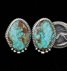Sterling Navajo post earrings with Kingman, Arizona turquoise.