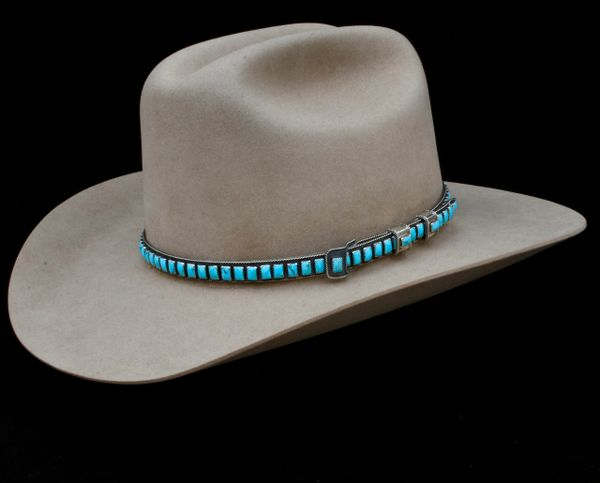 """Navajo adjustable Sterling silver hat band with 87 rectangular Kingman, Arizona real (not """"block"""") turquoise stones, by James Freeland."""