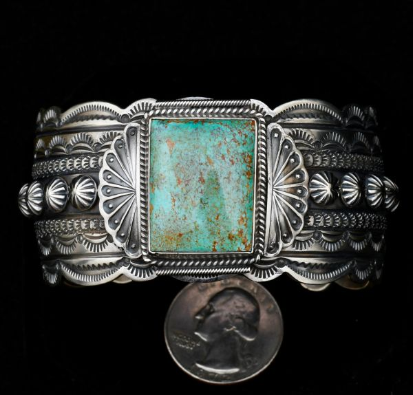 Sterling Navajo cuff with extensive hand-stamping and Royston, Nevada turquoise.