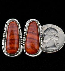 Sterling Navajo earrings with striped mahogany color spiney oyster shell.