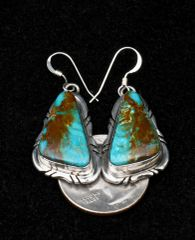 Sterling Navajo earrings with matching Kingman turquoise.