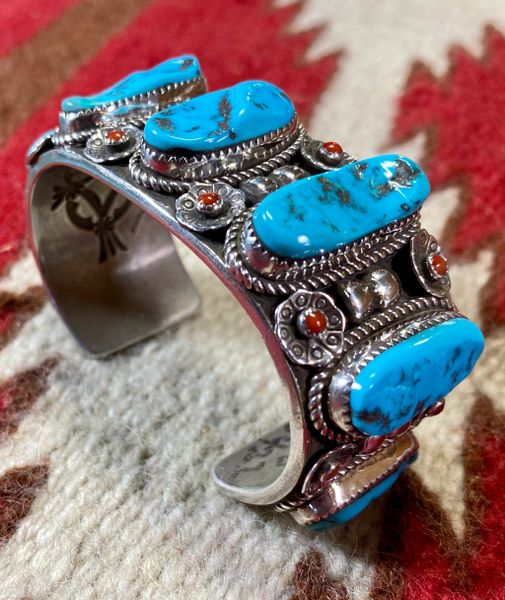 Navajo Sterling cuff with Sleeping Beauty turquoise and Red Coral