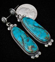 Custom-made Kingman turquoise Sterling earrings, by Gilbert Tom.