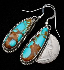 Navajo Sterling earrings with hand-picked, select Kingman, Arizona turquoise.—SOLD!