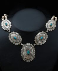 Classic Sterling Navajo concho pawn necklace, with Sleeping Beauty turquoise.—SOLD!