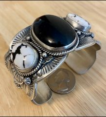 Custom-made Sterling Navajo triplet cuff by Gilbert Tom.—SOLD!