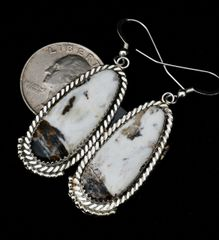 Sterling Navajo earrings with high-matrix white buffalo.