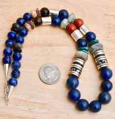 T&R Singer barrel-bead necklace with lapis.