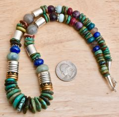 T&R Singer gold barrel-bead neckpiece with Royston turquoise.