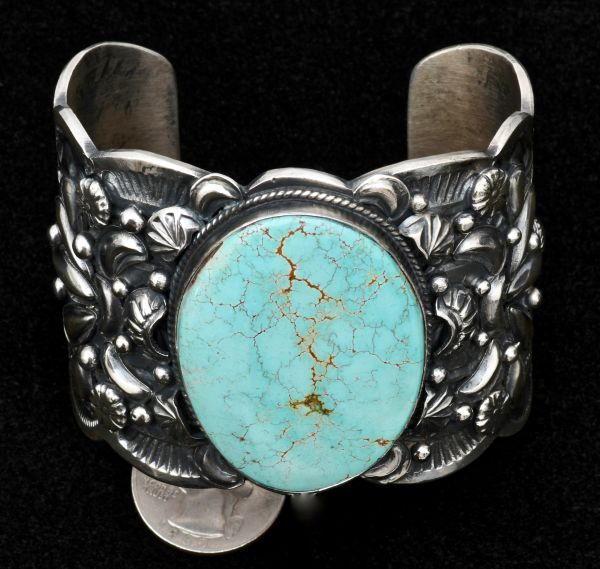 Heavy-silver custom-made Sterling Navajo cuff with 'old' No. 8 Mine turquoise.