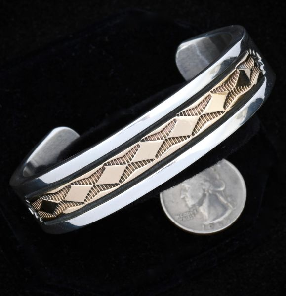 Bruce Morgan heavy silver and 14kt. gold 7.25-inch circumference cuff.