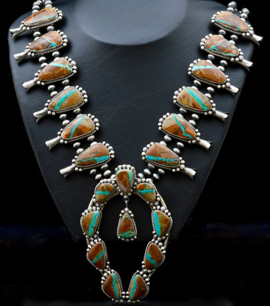 Sterling Navajo 22-stone squash blossom necklace with matching ribbon turquoise.—SOLD!
