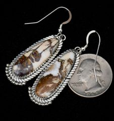 """Sterling Navajo earrings with Wild Horse (aka """"Crazy Horse"""") stones, by Virginia Becenti."""