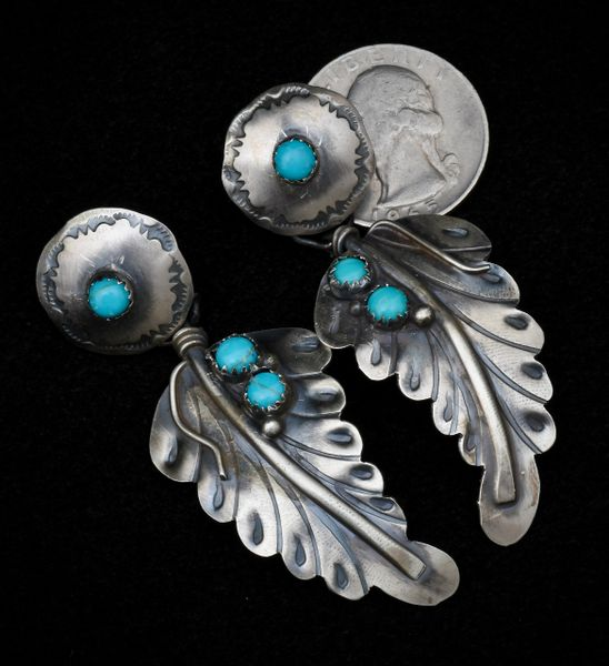"Sterling Navajo two-piece feather earring in ""old-style"" patina.—SOLD!"