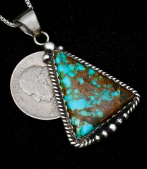 Sterling Navajo pendant and chain with Kingman turquoise.