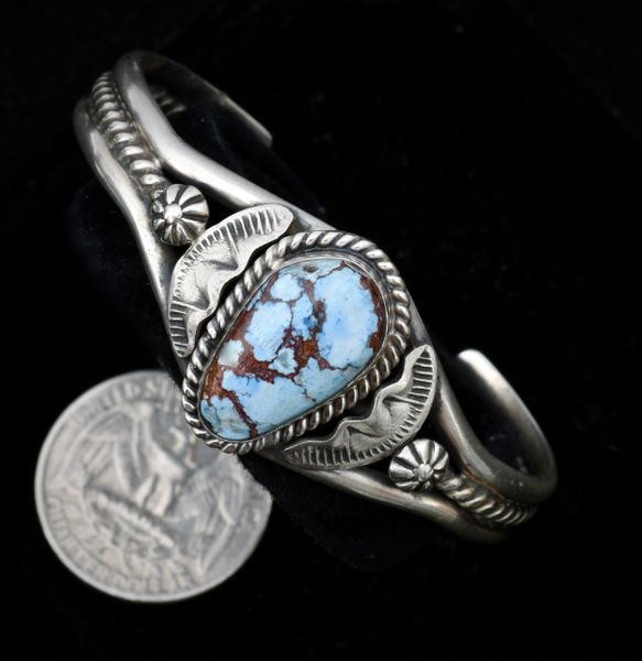 5.75-inch circumference Golden Hills turquoise cuff by Gilbert Tom, Navajo.