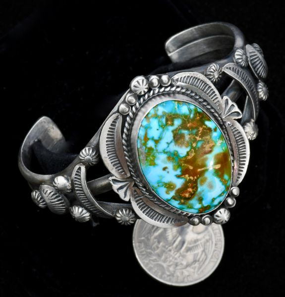 Sterling Navajo cuff in old-style patina and Kingman, Arizona turquoise, by Gilbert Tom.—SOLD!
