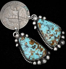Sterling Navajo earrings with hand-picked Kingman, Arizona turquoise.