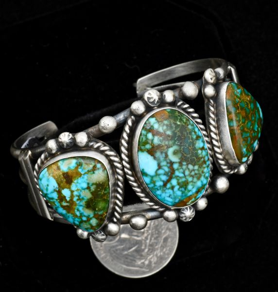 Sterling Navajo triplet cuff with colorful Kingman polychrome turquoise.