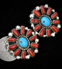 Sterling Navajo earrings with actual Mediterranean red coral and turquoise.