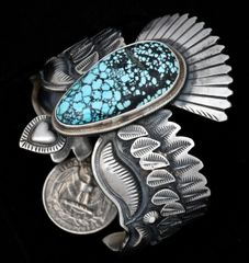 Artful Derrick Cadman Sterling and turquoise eagle cuff.