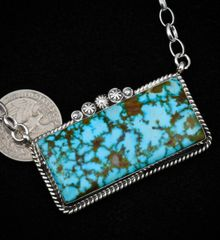 Large, 2.25-inch Sterling Navajo bar necklace with water-web Kingman turquoise